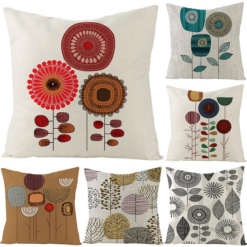 Sholisa Flower Cushion cover Linen Cojines Countryside Pillowcase Throw Pillow cover 45*45cm