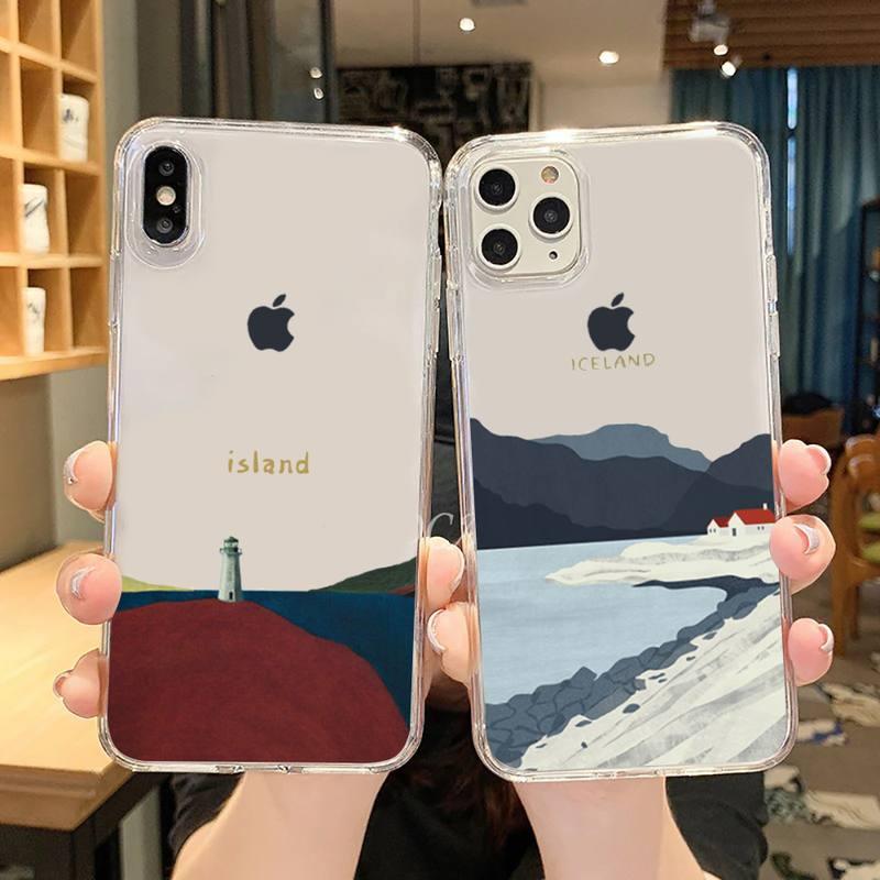 Nordic Icelandic landschaft kunst Telefon Fall Transparent für iPhone 6 7 8 11 12 s mini pro X XS XR MAX Plus