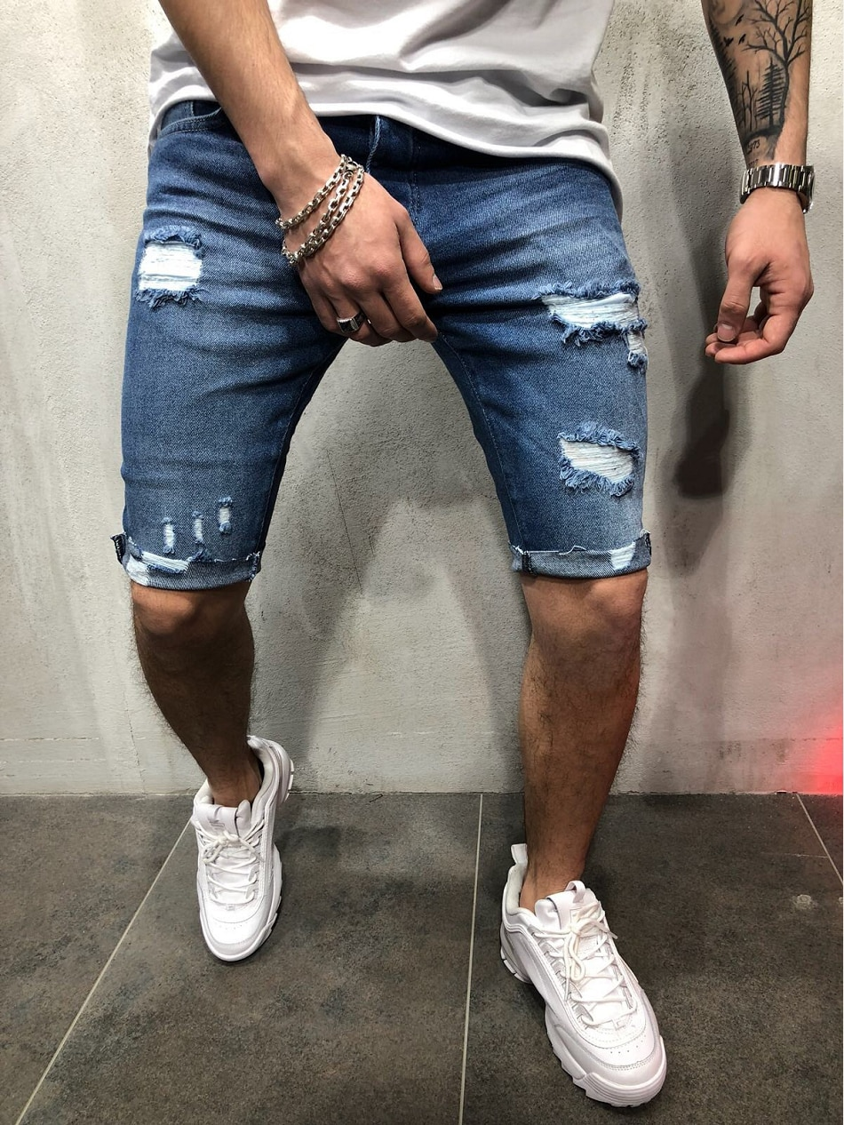 2021 New Summer Fashion Men Brand Shorts Destroyed Skinny Ripped Frayed Denim Jeans Cotton Casual Hole Slim Five-Point Pants five pockets destroyed skinny jeans