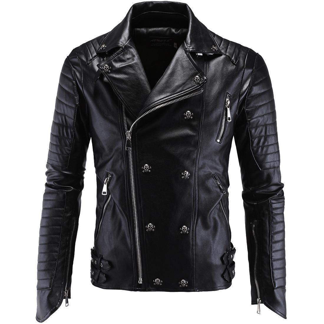 Punk Men's Leather Motorcycle Leather Slim Men Leather Jacket Men Clothes 2020 Plus Size Black Biker Jacket Men Fur Coat