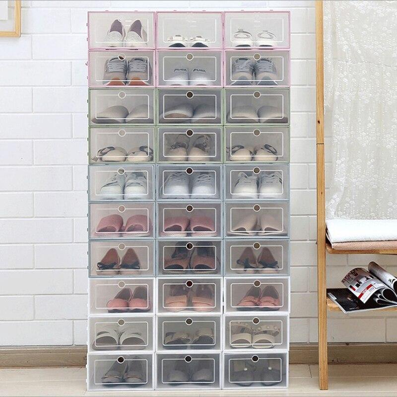 Cajas de almacenamiento transparentes gruesas para zapatos, organizador de zapatos apilable, envase de zapatos de plástico para hombre/mujer 33x24x14cm/31x11x12 cm 5cm