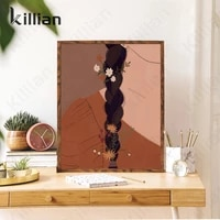 modern abstract canvas painting woman poster prints wildflower girl boho art canvas painting wall pictures living room decor