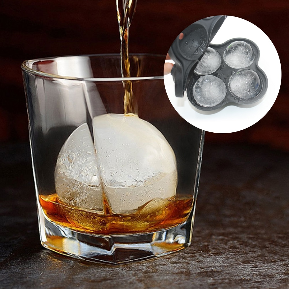 4 Cavity Ice Cube Maker Mold Sphere Tray Kitchen Tool Silicone Ball Grid Round Whiskey