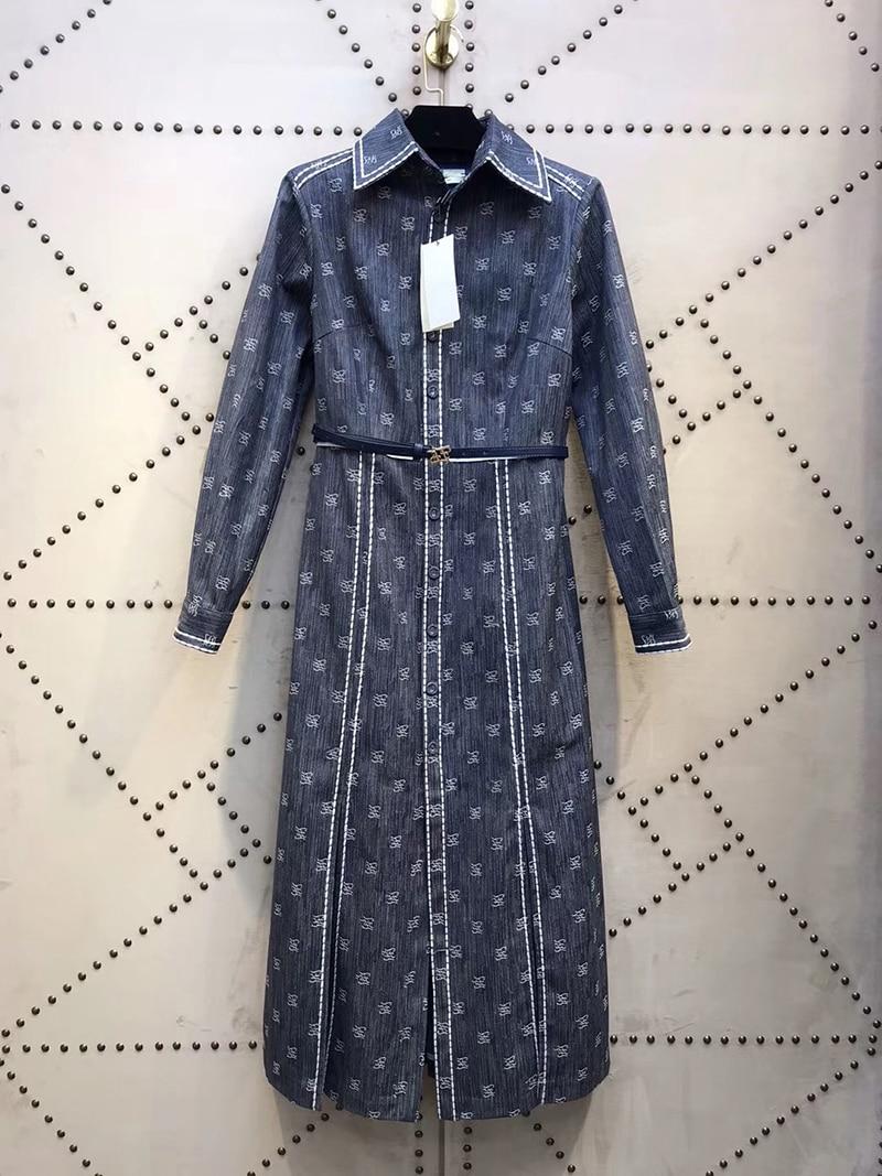 Итальянский дизайнер FF джинсовое платье-рубашка с поясом бренд стильный офисный стиль Подиум знаменитости 2020
