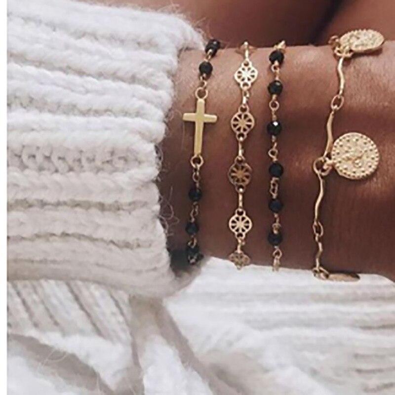 4 pçs/set Cruz de Ouro Charme Pulseiras para Mulheres Contas Do Rosário Cadeia Moeda de Ouro Pingentes Pulseiras na Perna Sorte Braclets Jóias