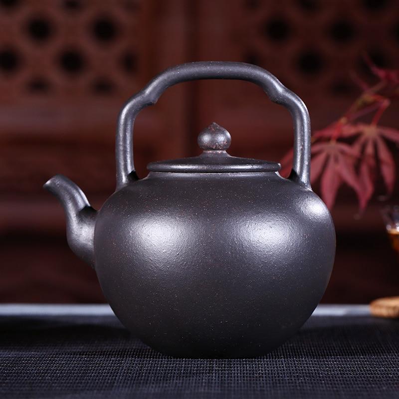 Yixing purple sand ore cinabrio negro por wu tetera de Liang de mano de 340 ml