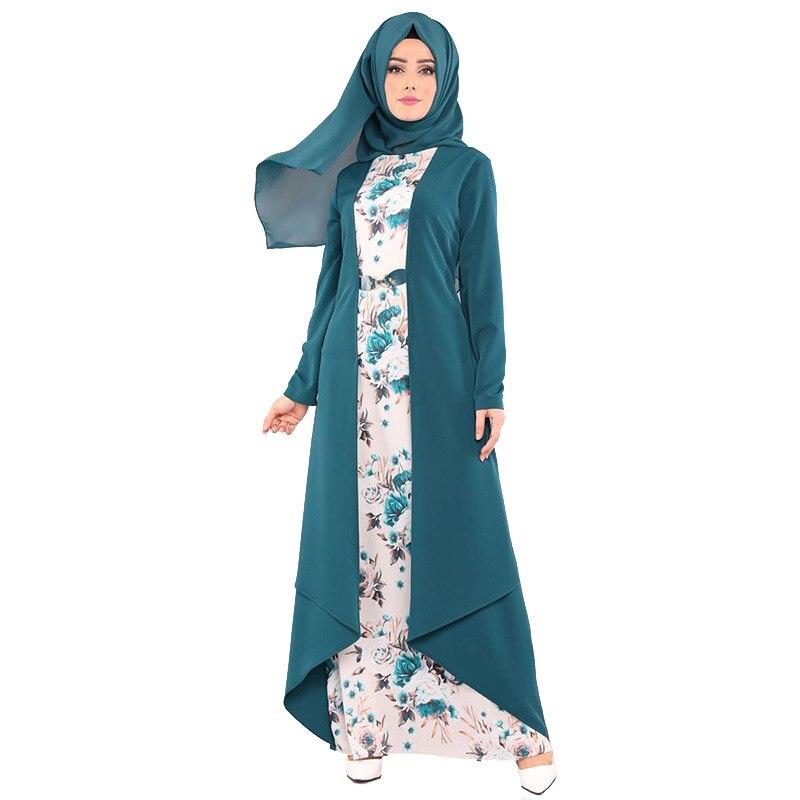 Summer Middle East Fashion Muslim Printed Long Dress Long Sleeve Round Neck Thin Breathable Robe Arab Dubai Women's Dress