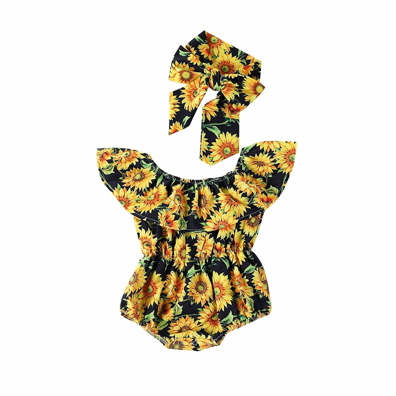 Baby Rompers 2021 Newborn Summer Baby Girls Flower Romper chrysanthemum Jumpsuit Sunsuit Outfits Set Clothes Baby Clothing
