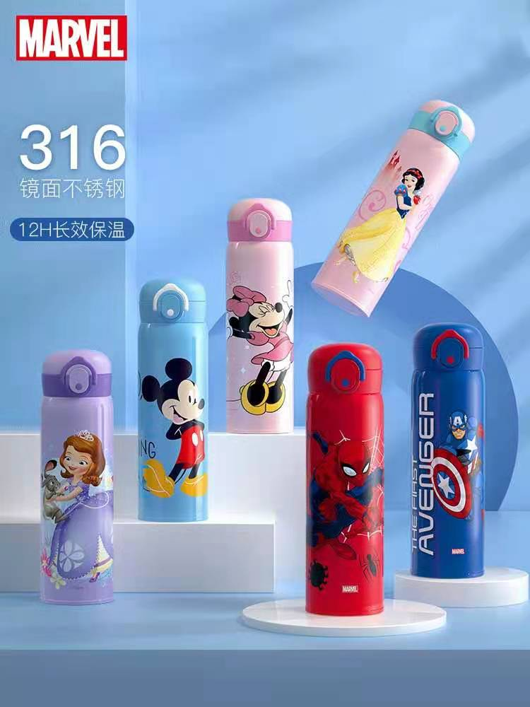 Disney Marvel Stainless Steel 316 Water Cup For Boys Girls Mickey Princess Keep Warm Cup Kindergarten Age 3-12 Years Kids Gifts