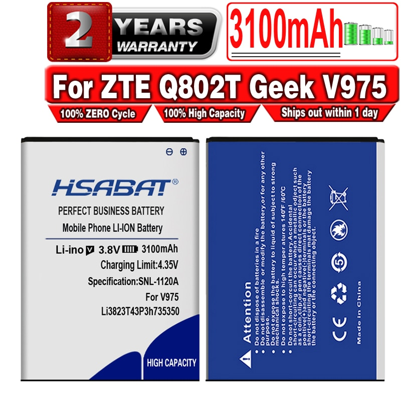 HSABAT Li3823T43P3h735350 batería de 3100mAh para ZTE Q802T Geek V975 U988S N986 V976 N976 baterías