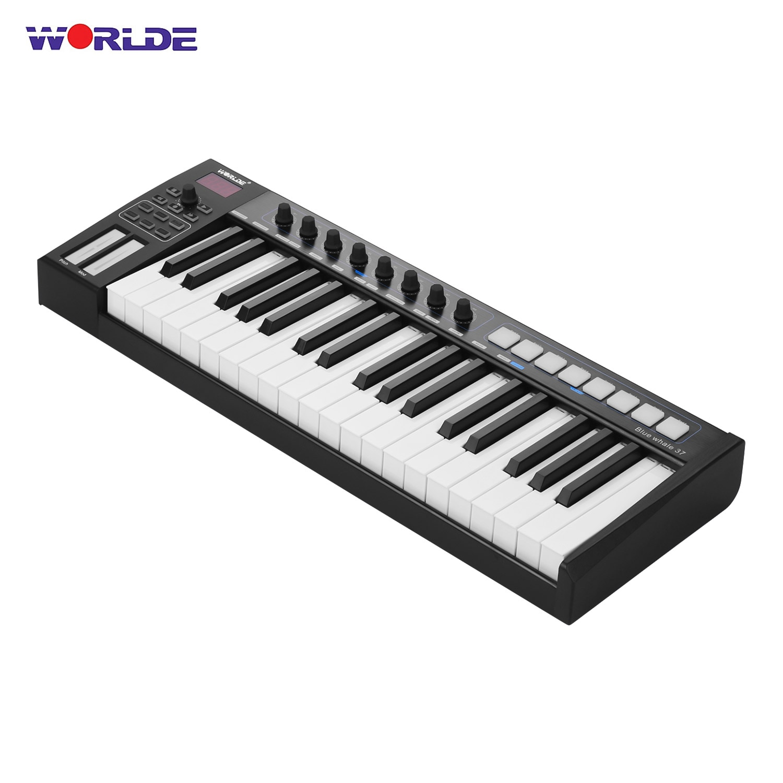 Worlde baleia azul 37 usb midi controlador teclado 37 teclas semi-ponderadas 8 rgb retroiluminado gatilho almofadas display led