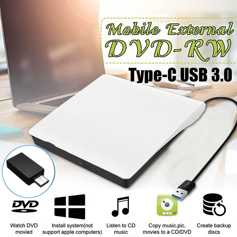 محرك أقراص DVD RW خارجي محرك أقراص CD نوع-C USB 3.0 محرك أقراص بصرية محرك أقراص كومبو نحيف مشغل قارئ كمبيوتر محمول CD/DVD خليج بصري