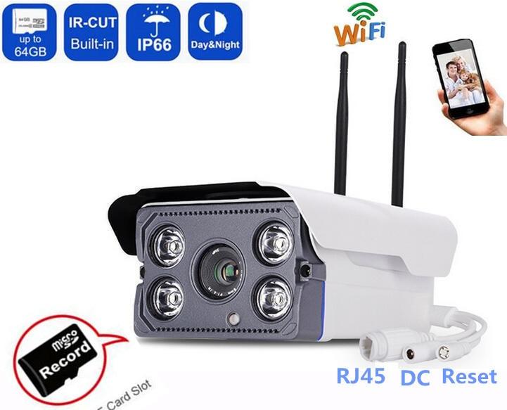 720 P/1080 P HD Wireless IP CCTV Cámara Bala IR WIFI Ver Teléfono Audio de la Cámara impermeable al aire libre Onvif Ranura Para tarjeta SD Nightvision