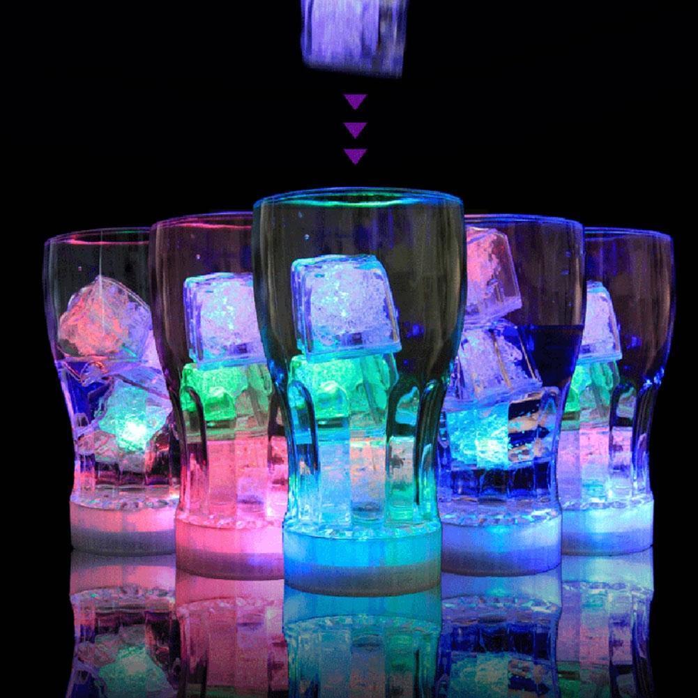 Цветные Кубики льда, ночник с датчиком жидкости, индукционные универсальные СВЕТОДИОДНЫЕ Светящиеся Кубики, светсветильник кубики льда I4K8