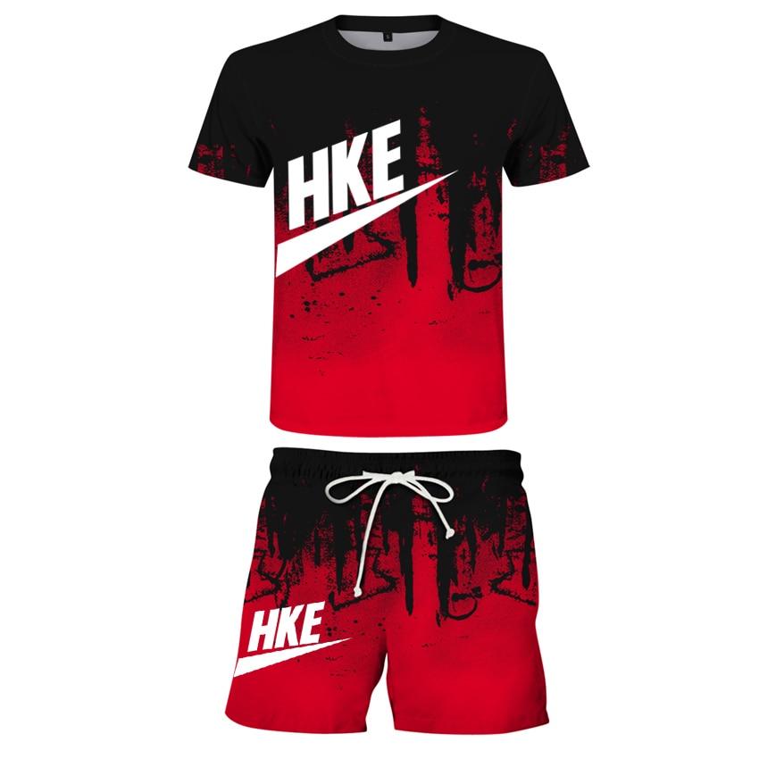 Beach men's sports leisure T-shirt set summer fashion clothing digital printing fashion men's set su