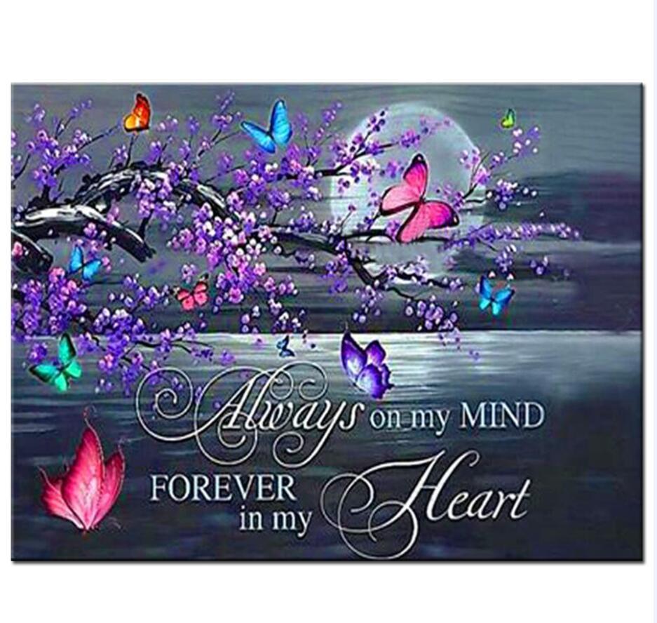 Papillon fleur de prunier diamant mosaïque amour, lune texte diamant peinture diamant peinture pleine carré rond diamant broderie N857