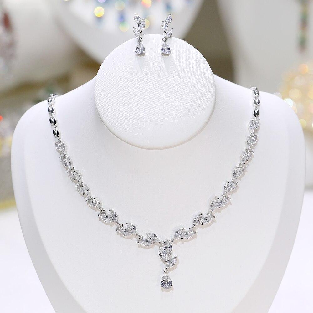 Princesa brillante cuadrado femenino circón corte zirconia collar cuenta nupcial tesoro conjunto de joyería X-0072