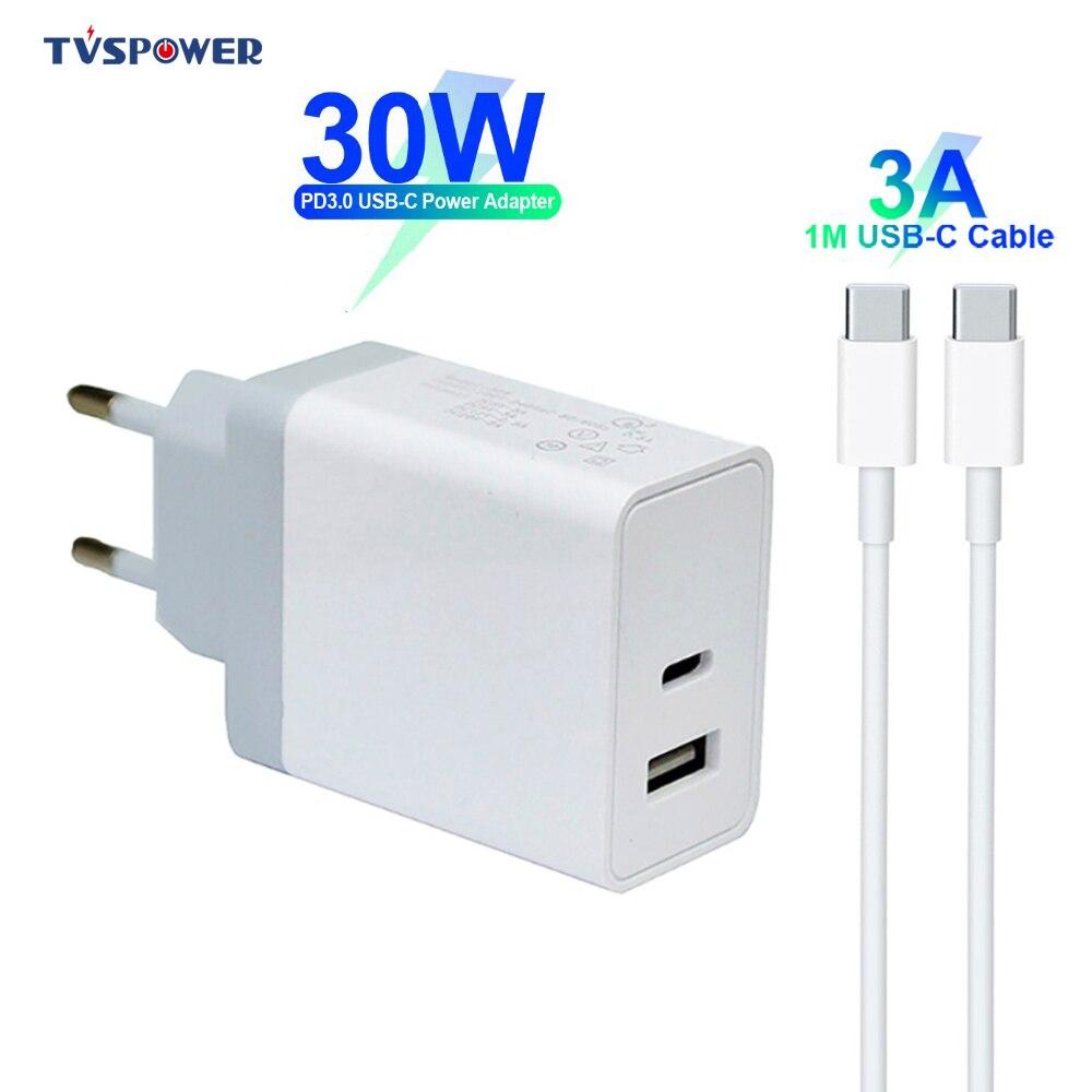 18 w 30 w usb tipo-c pd carregamento rápido 2-port qc carregador rápido 9 v 3a carregador móvel adaptador de energia para iphone samsung huawei xiaomi