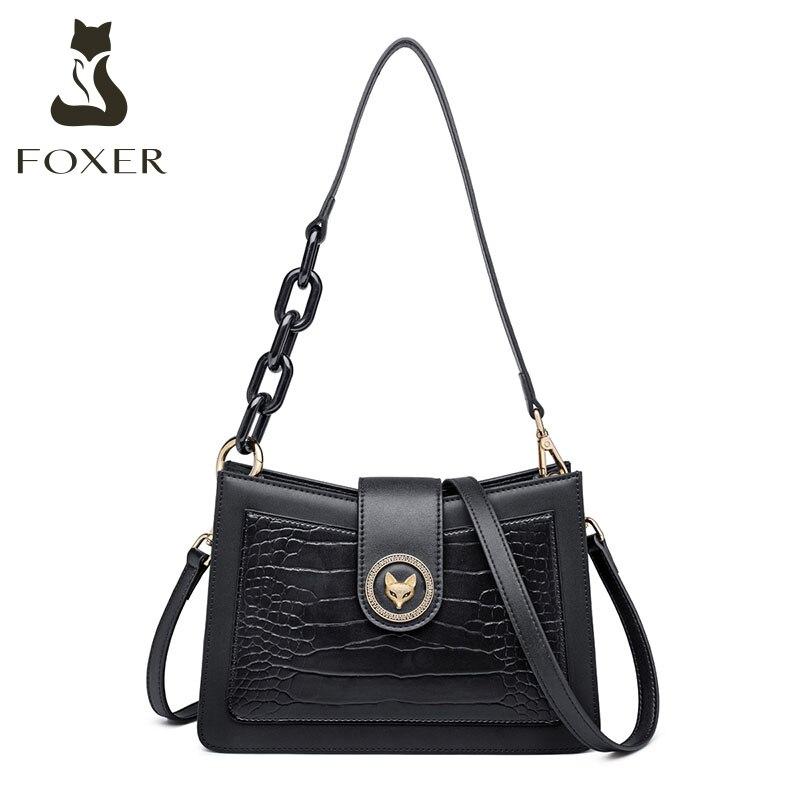 FOXER-حقيبة كتف جلدية ريترو تمساح للنساء ، حقيبة كتف صغيرة عتيقة ، حقيبة كتف جلدية مقسمة ، مجموعة جديدة 2021