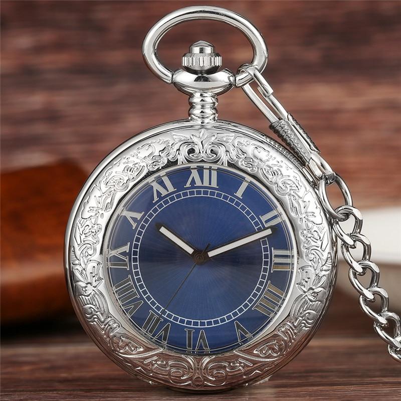 Antique Silver Unisex Pocket Watch Automatic Mechanical Watches for Men Women Roman Number Dial Pendant Clock Luminous Hands