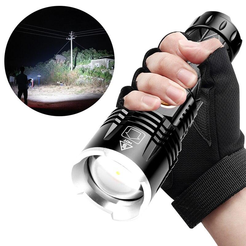 Potente linterna LED XHP90 portátil, Triple tipo Reflector, linterna superbrillante de carga c, 5 modos de iluminación, lámpara de mano para apilar