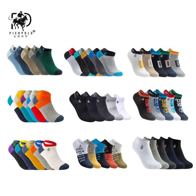 PIER POLO, носки для мужчин, лидер продаж, летние носки, хлопковые мужские модные короткие носки, 5 пар/лот, harajuku Happy Socks Men