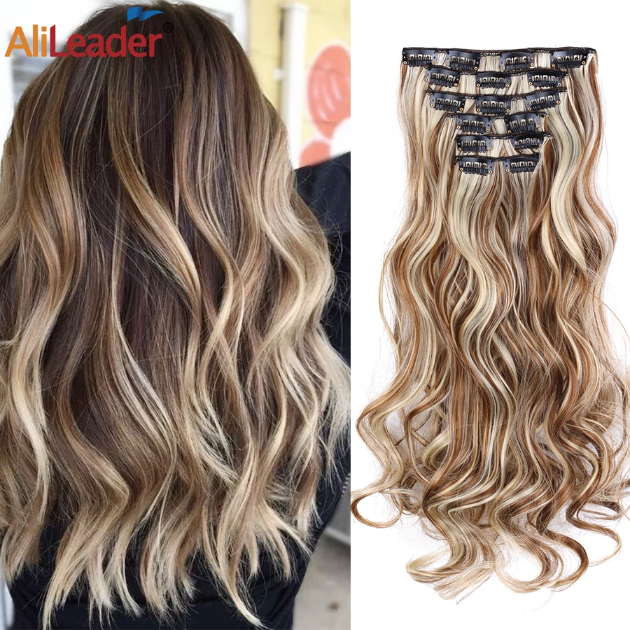Alileader 55cm 100% Real Natural Long Synthetic Hair Extention Heat Resistant Hairpiece Clip Curly 2