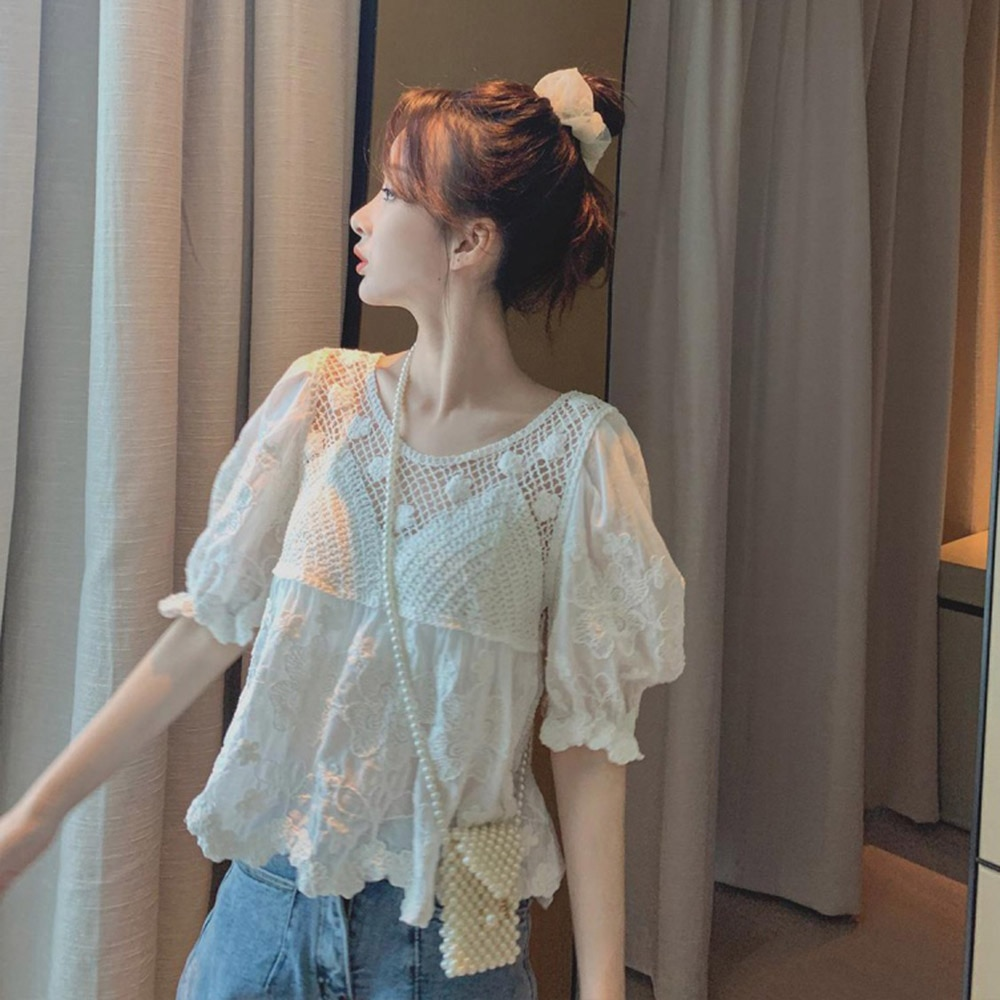 Boho Women Sexy White Blouse Lace Hollow Flowers A-line Sweet Travel Holiday Summer Fashion Young Fa