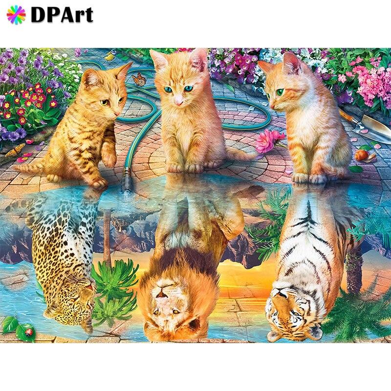 Pintura de diamante cuadrado completo/redondo taladro perro gato Tigre espejo reflejo 5D Daimond pintura bordado punto de cruz mosaico A114