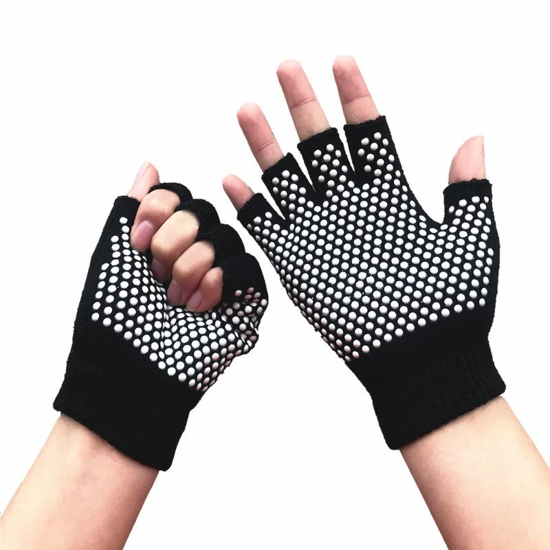 Guantes de Yoga antideslizantes de algodón puro sin dedos guantes de plástico manchado transpirable actividad física Yoga Pilates otoño e invierno Ha