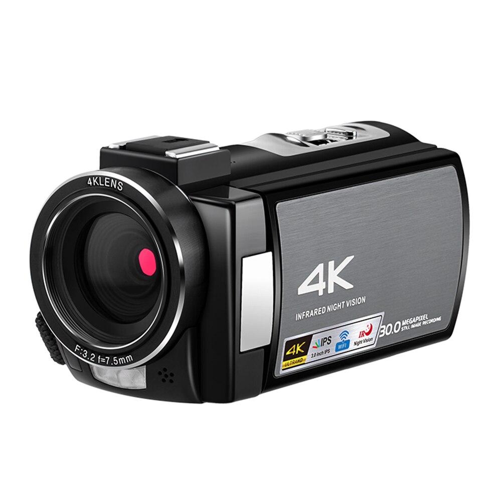 Capucha externa HD CMOS, Sensor de pantalla táctil 4K, videocámara IR visión nocturna portátil con lente gran angular, cámara de vídeo, Control remoto