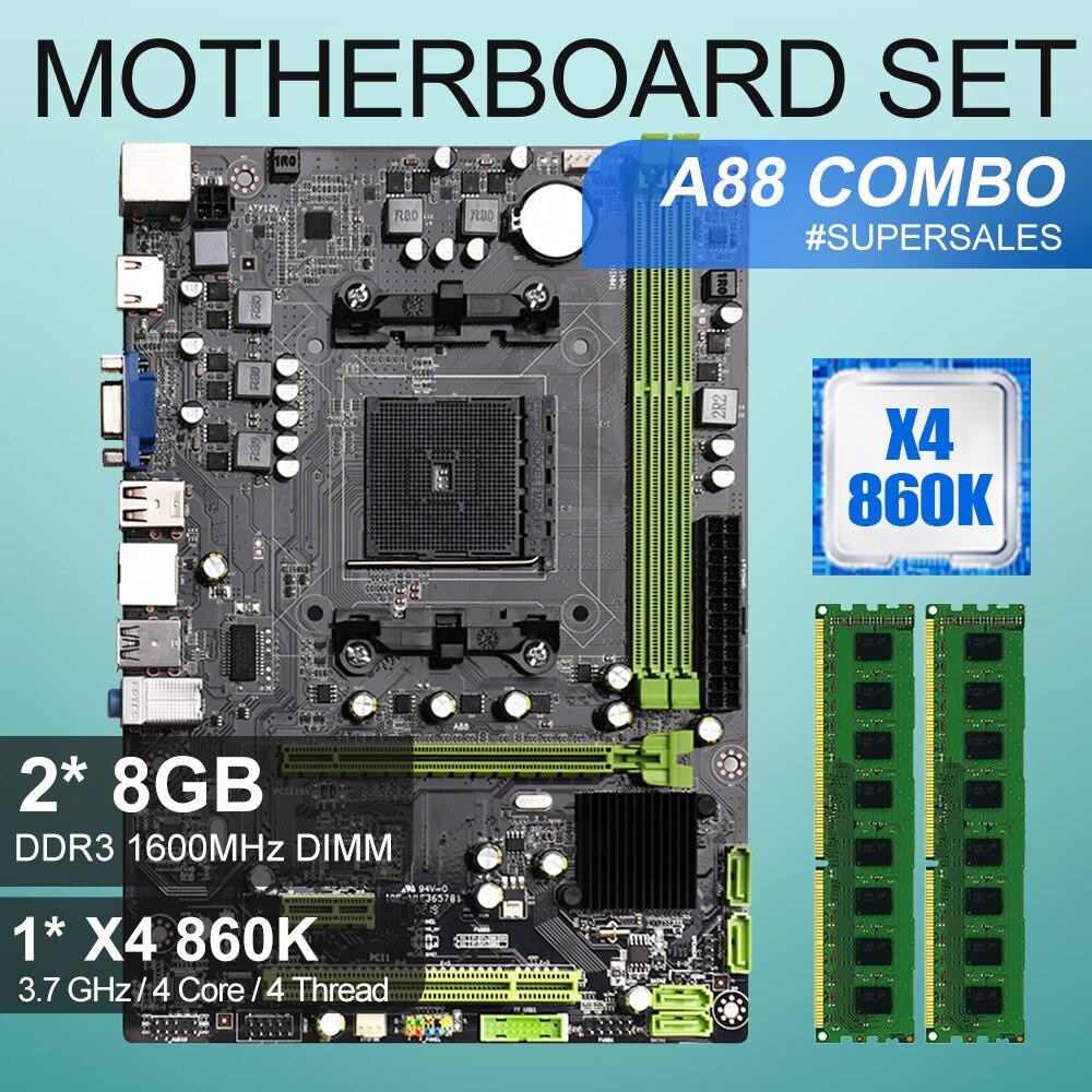 مجموعة اللوحة الأم FM2/FM2 A88 ، مع وحدة معالجة مركزية AMD Athlon X4 860K 3.7 جيجا هرتز ، 4 مراكز ، 16 جيجا بايت = 2 × 8 جيجا بايت DDR3 1600 ميجا هرتز DIMM