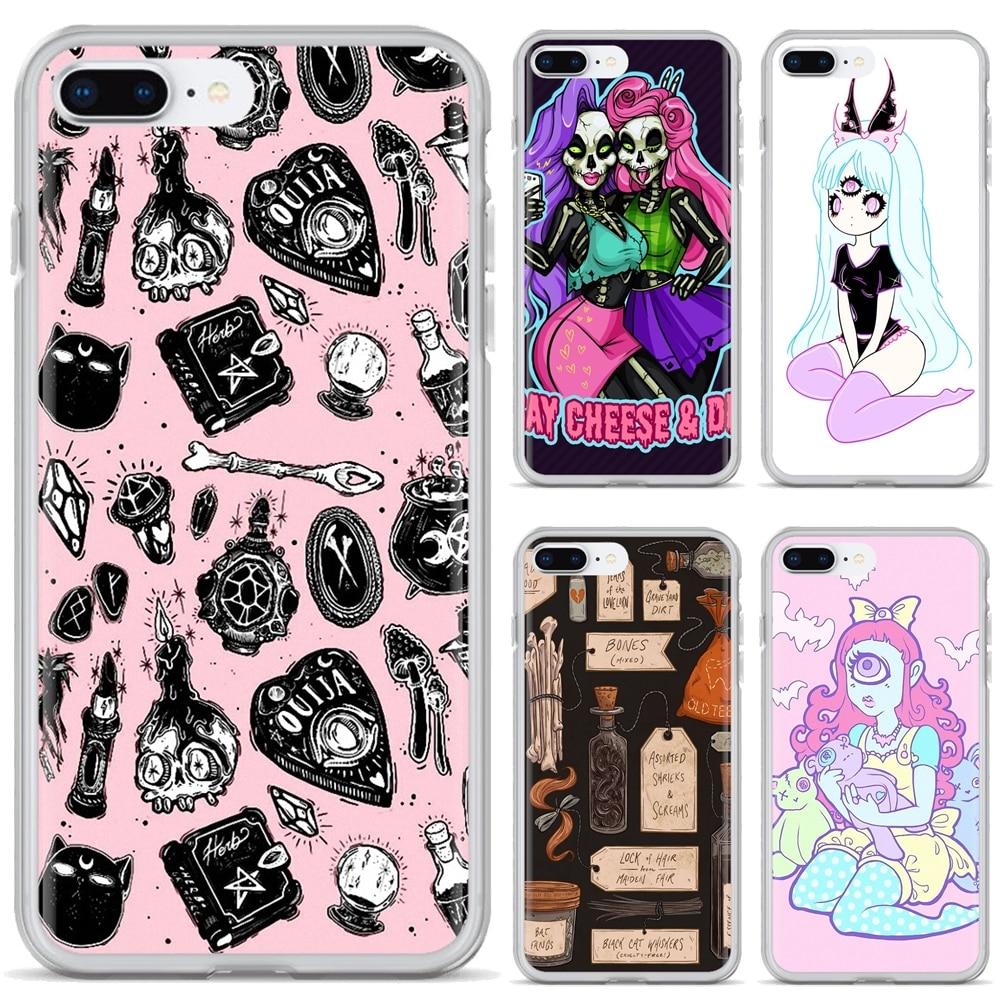 Para Samsung Galaxy A10 A30 A40 A50 A60 A70 S6 activo Nota 10 Plus M30 obra de arte de la caja del teléfono de silicona chica Pastel bruja Goth