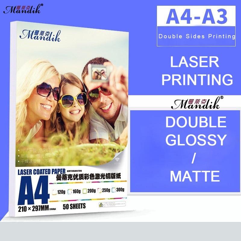 Высокое качество 120 г 160 г 200 г 250 г 300 г A3 A4 двухсторонняя Глянцевая лазерная печать фотобумага