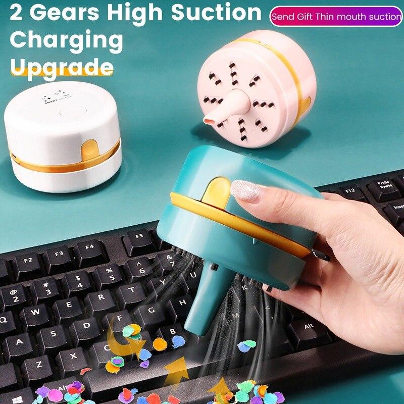 Настольный пылесос с щеткой для чистки, пылесос, съемный мини-пылесос с USB-зарядкой для очистки пыли/компьютерной клавиатуры