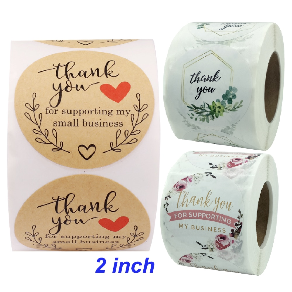 2inch 500Pcs Aesthetic Thank You Sticker Deco Scrapbooking Support My Small Business Supply Art Stationery Your Order Seal Label