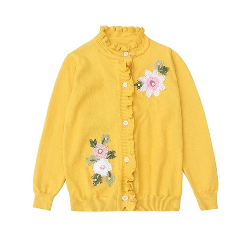 Primavera niñas suéter de manga larga flores bordadas niños punto cardigan suéteres dulce Niñas Ropa de punto chaqueta 3-14T