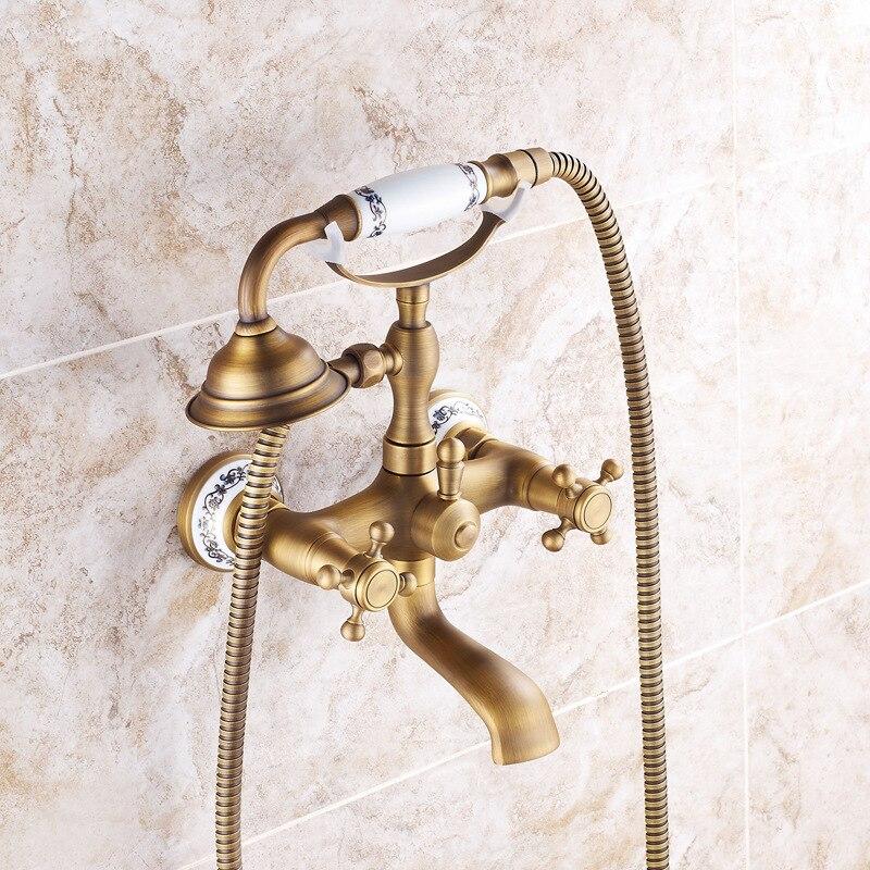 النحاس في الجدار معلقة دش مجموعة العتيقة دش رئيس دش المنزلية الجديدة الصينية المحمولة أدوات دش صنبور حوض استحمام
