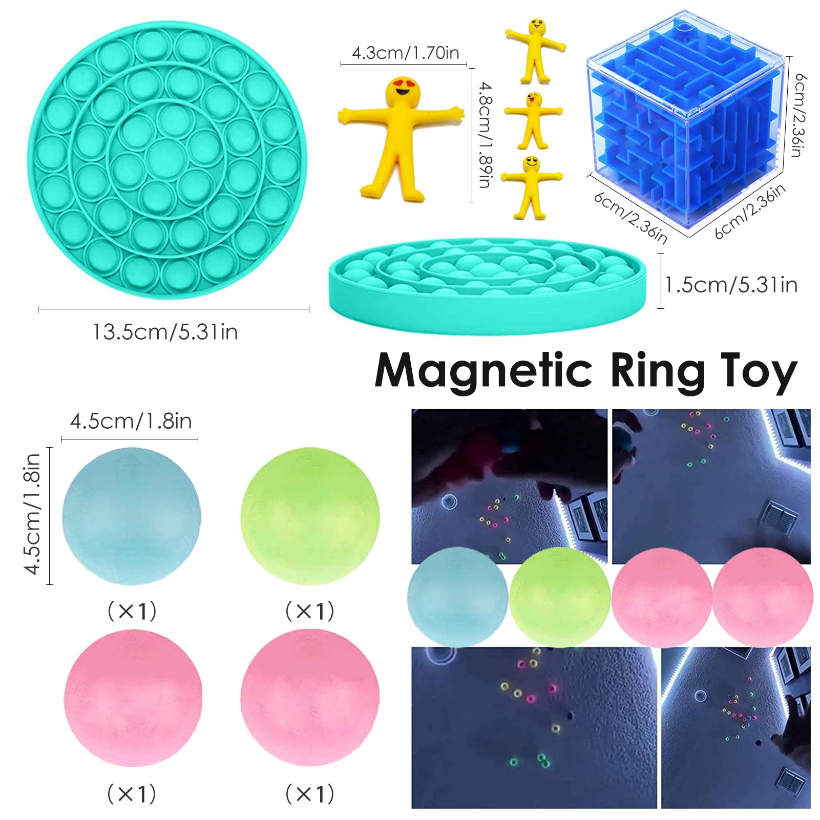 Sensory Fidget Toys Set Stress Reliever Wall Stick Ball Stretchy Strings Mesh ADHD Marble Ball Autism Anxiet Toys For Kids Adult enlarge