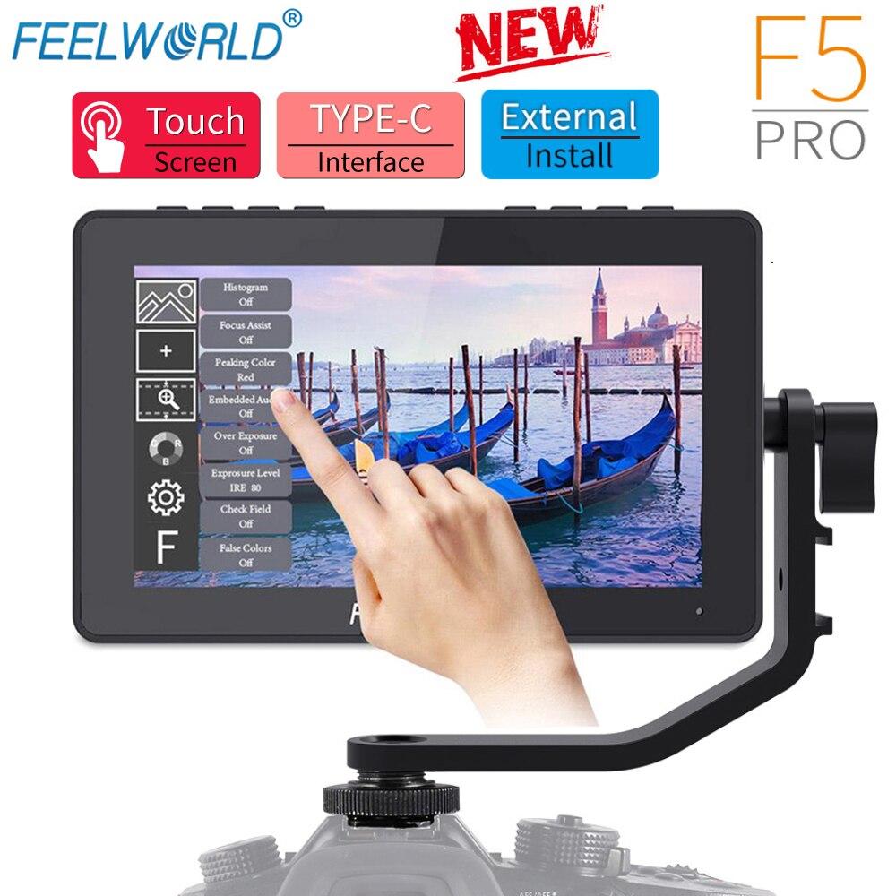 FEELWORLD-شاشة عرض ميدانية للكاميرا F5 Pro ، شاشة لمس IPS FHD1920x1080 4K ، 5.5 بوصة ، مساعد تركيز فيديو محمول باليد