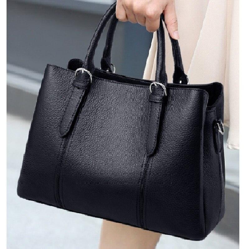 ZOOLER-حقائب يد من جلد البقر للنساء ، حقيبة كتف جلدية أصلية كبيرة ، استخدام عمل أسود فاخر للنساء # SC531