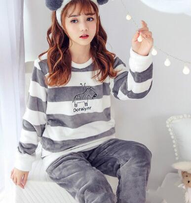 Wontive Plus size Pajamas Set Autumn Winter Warm Flannel Pyjamas women Set Thick Coral Velvet Long Sleeve Cartoon Sleepwear Thin