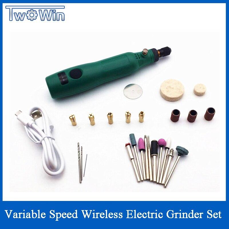 Mini herramienta rotativa de bricolaje con USB 5V DC 10W, velocidad Variable, juego para lijadora eléctrica, lápiz para tallar madera para fresadora y grabado