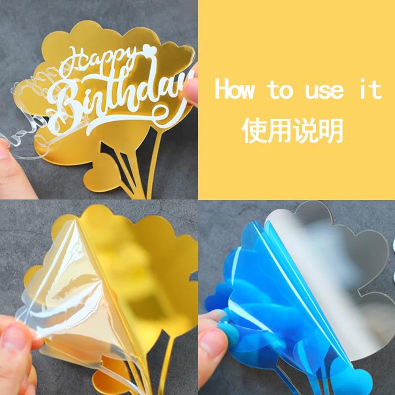 Feliz cumpleaños. Español Acrylic Candy color Happy Birthday Cake Topper in Spanish for Party Decoration Baking Supplies