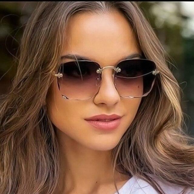 2020 Square Rimless Sunglasses Women Luxury Brand Designer Summer Red Glasses Fashion Sun glasses For Men UV400 Shades Oculos