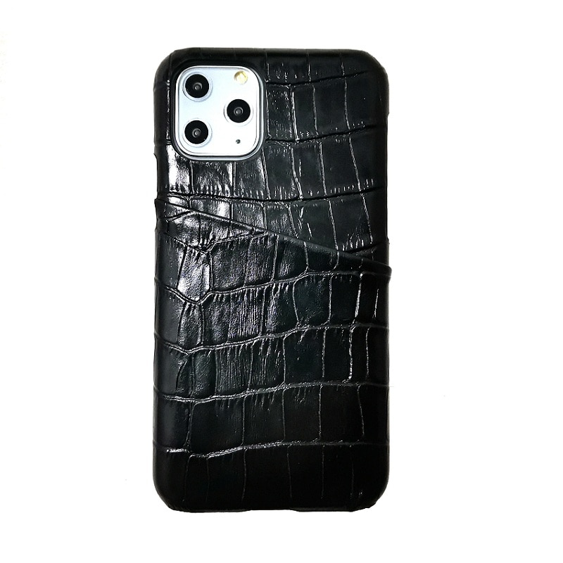 Solque véritable étui en cuir véritable pour iPhone 11 Pro Max 11Pro étuis de téléphone de luxe mignon Crocodile porte-carte mince dur couverture arrière