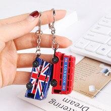 Londres rouge bleu Bus porte-clés boîte aux lettres porte-clés clé pendentif souvenirs cadeaux pour femmes hommes porte-clés mignon porte-clés