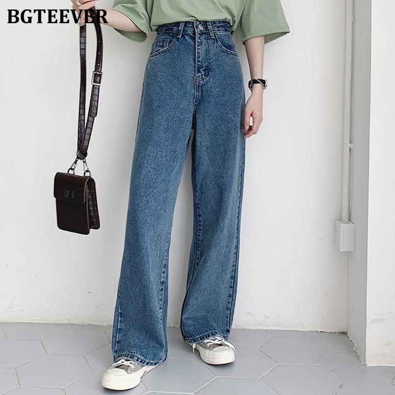 BGTEEVER Casual High Waist Loose Women Denim Jeans Streetwear Vintage Long Wide Leg Jeans Pants Fema