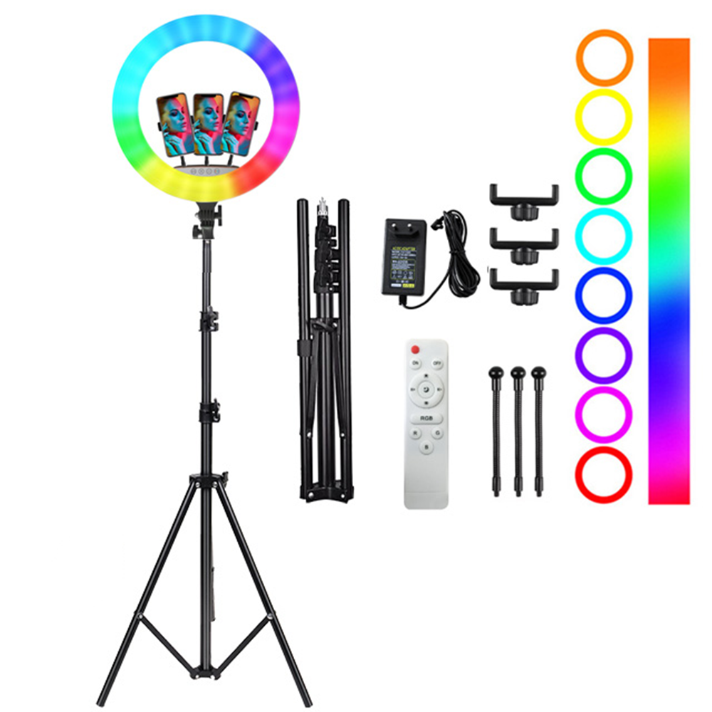 ST-11 17Inch RGB Ring Fill Light with 3 Phone Holders LED Ring Light with Tripod Stand for Youtube Tiktok