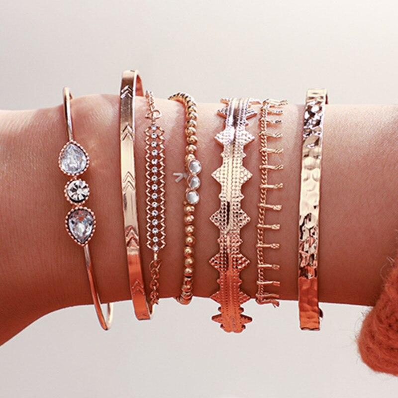 DIEZI 14 estilos Vintage 2019 Rhinestone Cuff brazaletes anchos chapado en oro cadena flecha pulsera establece mujeres moda declaración joyería